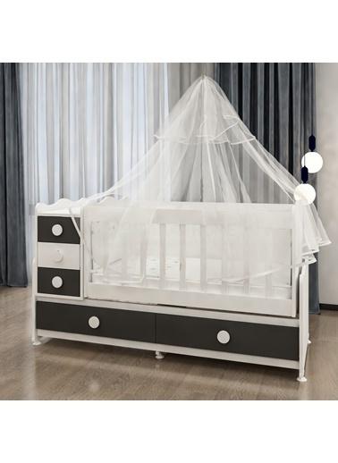 Garaj Home Garaj Home Melina Lüks Uyku Setli Beşik Kombini-Gri/ Uyku Seti Beyaz Beyaz